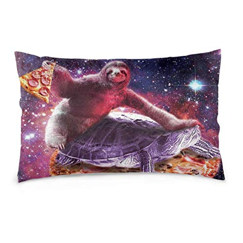 DKISEE Lumbar Pillowcases Pillow Cover Decorative Space Sloth Riding Turtle Pizza Galaxy Throw Pillow Cases Cushion Zipper Covers for Home Sofa Couch 20x36 inches