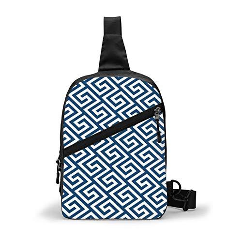 Mochila cruzada con diseño de llave griega y cojín para el pecho, para viajes al aire libre, senderismo, mochila para hombres y mujeres