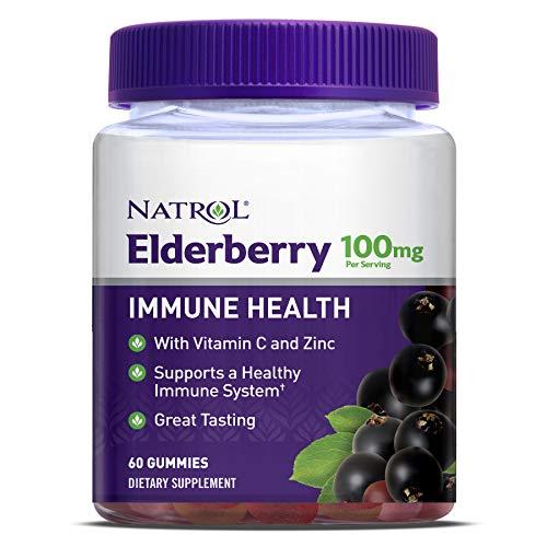 Natrol Elderberry Gummies, with Vitamin C and Zinc, Supplement for Immune Support+, 60 Delicious Gummies