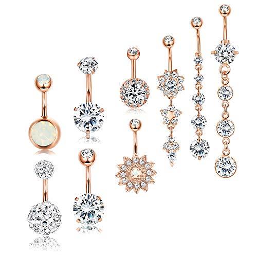 RUBOBUC Bijoux Piercing Beaux Cubic Zirconia Belly Button Bar Barbell Nombril Anneau Body Piercing Jewelry
