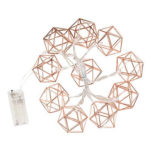 LED-Lichterkette mit geometrischem Boho-Motiv, für Zuhause, Schlafzimmer, Hochzeit, Party, Innenbereich, Terrasse, Rose Gold, 1.5M 10LED