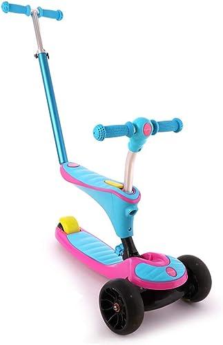 MGIZLJJ Scooter para Niños Scooter para Niños pequeños y pequeños Scooter para Niños Scoopers de 3 Ruedas con Patas de Altura Ajustable Patas con Patas de Destellos de PU Niños de 3 a 14
