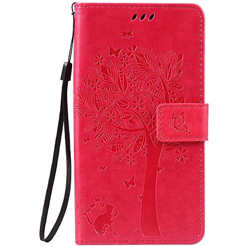 C-Super Mall-UK Asus Zenfone Go ZB551KL (5.5 inch) hülle: Geprägte Baum Katzen-Schmetterlings-Muster PU-Leder-Mappen-Standplatz -Schlag-hülle für Asus Zenfone Go ZB551KL (5.5 inch)(Rose rot)