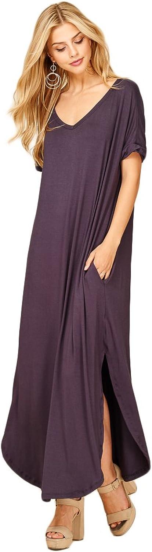 Annabelle Women's V Neck Short Sleeve Split Long Maxi Dresses Pockets