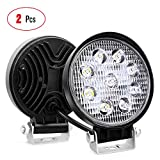Nilight 15016F-B Led 2PCS 4.5' 27w 3000LM Round Flood Light Pod Off Road Fog Driving Roof Bar Bumper for Jeep,SUV Truck, Hunters, 2 Years Warranty