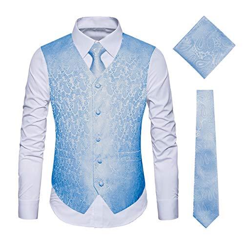 YIMANIE Herren Klassische Paisley Floral Jacquard Weste & Krawatte und Einstecktuch Weste Anzug Set
