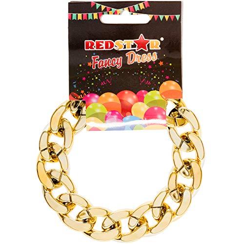Gold Bracelet Chain Gangster Chav Necklace Hip Hop Rapper Pimp Fancy Dress Accessory
