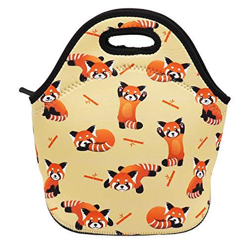 Neoprene Lunch Bag Insulated Lunch Box Tote for Women Men Adult Kids Teens Boys Teenage Girls (Red Panda)