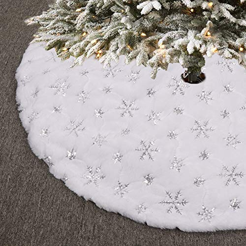 O-heart 48 inches Christmas Tree Skirt, Faux Fur Snowflake Sequin Luxury Embroidered Furry White Tree Skirt Decorations for Xmas New Year Party Home Decor Pet Favors