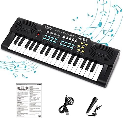 CACOE Pianola Per Scuola Media o Bambini, Pianola Musicale Tastiera con 37 Tasti, Elettronica Tastiera Portatile Pianola Multifunzione, Mini Tastiera Music Giocattolo Educativo Per Regalo, Nero