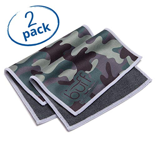 Buff™ Quick Cloth – 2 Pack with Case | Microfiber Cloth for Eyeglasses, Phones, Tablets, Lenses | Double Sided Ultrafine Microfiber (Camo)