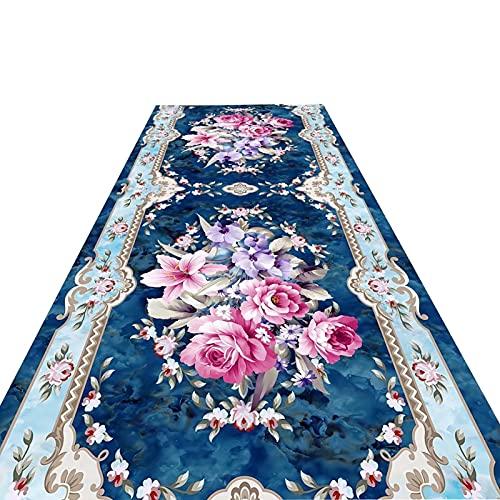 Alfombra de estilo europeo, diseño de flores frescas, de estilo europeo, de negocios, de Iglesia, de negocios, de 60 cm, de 80 cm, 90 cm, 100 cm, 120 cm, 140 cm de ancho (90 cm de ancho x 100 cm)