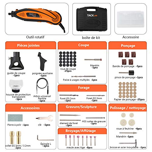 TACKLIFE Outil Rotatif Electrique 135W à 6 Vitesse Réglable, Outil Rotatif Multifonction avec Kit de 80 Accessoires pour Découpage/Polissage/Sculpture/Meulage RTD35ACL