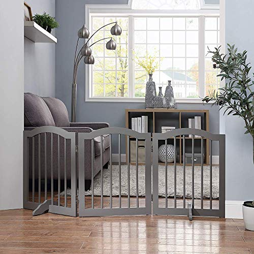 unipaws Freestanding Dog Gate with 2pcs Support Feet Foldable Pet Gate for Stairs Decorative Indoor Pet Barrier with Arched Top Grey 3 Panels 20 inches Wide 24 inches High
