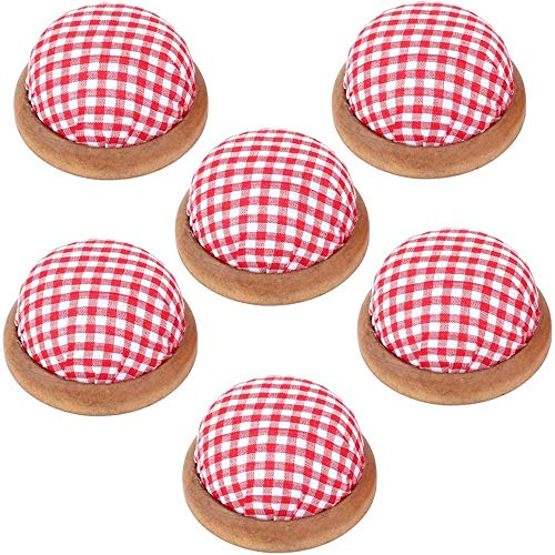 6 Stks Rode Plaid Houten Pin Kussens Naaien Naald Pincushions DIY Craft voor Naaldwerk