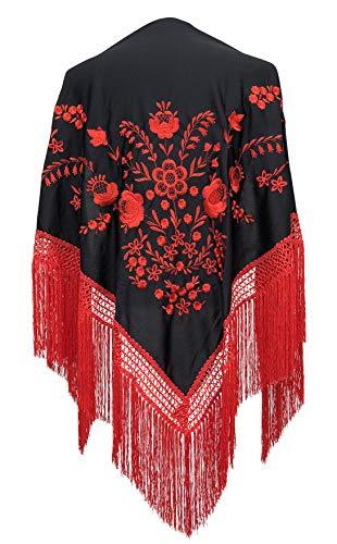 La Señorita La Senorita Spanischer Manton Tuch/Schal - Schwarz mit roten Blumen und Fransen