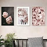 Pink Rose Flowers Canvas Paintings Romantic Modern Posters Print 3 Set Wall Art Picture For Bedroom Decoración Para El Hogar 50 * 70Cm*3