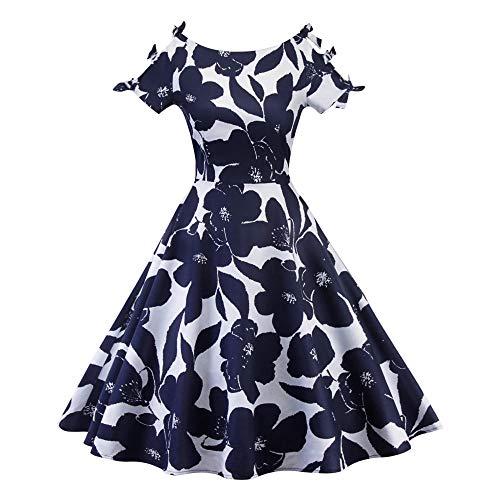 Vestidos De Fiesta Vestir Dress Mujer Niña Vestido Retro De Moda Vintage para Mujer Vestido De Noche De Graduación-Blue_M