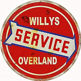 Sylty Reproduction Willy's Service Overland Sign Retro Dad Garage Man Cave Car Metal Tin Sign 12X12 Inch