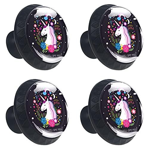 Unicornio negro vidrio para puerta cajón armario armario 4 piezas