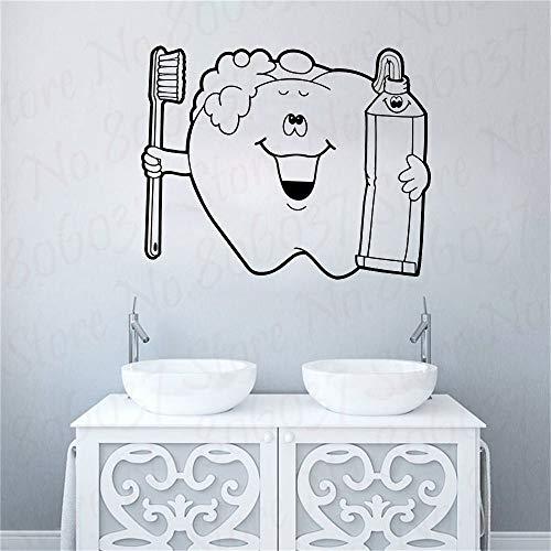 wZUN Clinique Dentaire Sticker Mural Vinyle Autocollant décoration orthodontique brossage des Dents Verre Dentaire 42X35cm