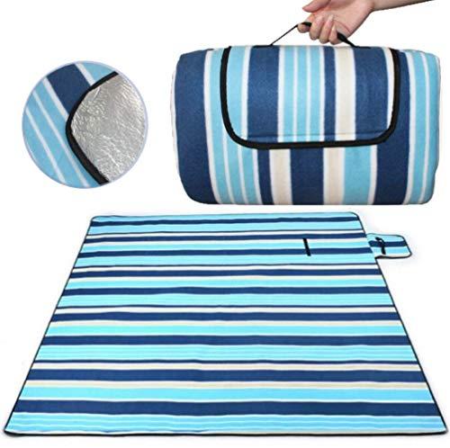 SaiXuan Picknickdecke 200 x 200 cm Outdoor Stranddecke wasserdichte sanddichte tolle Picknick-Matte Fleece wärmeisoliert wasserdicht mit Tragegriff (Blaue gestreift)