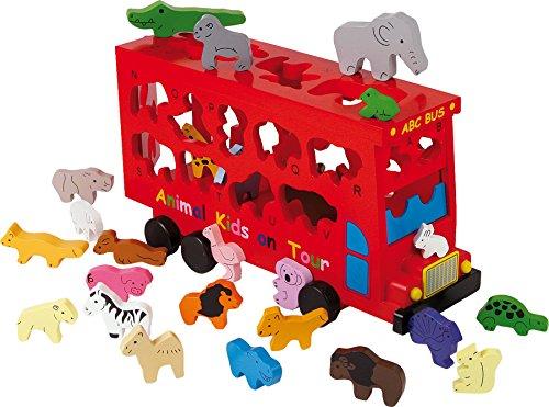 small foot 5285 Jouet à formes Bus ABC Animaux en bois, apprentissage ludique de l'alphabet avec des animaux colorés, à partir de 3 ans