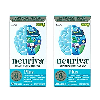 Nootropic Brain Support Supplement - NEURIVA Plus  30 Count  Pack of 2