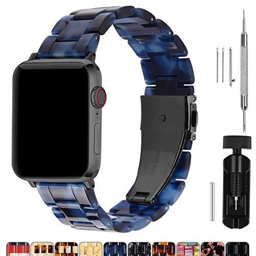 Cinturino per Apple Watch 44 mm, Moda Cinturino in Resina di Ricambio Per iWatch Compatibile con Apple Watch Serie 5 4 3 2 1, Hermes, Nike +, Edition, Sport, 44mm, Colore di Mare(Hardware Grigio Fumè)
