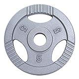 GORILLA SPORTS® Hantelscheibe Olympia Gusseisen Gripper – 5 kg Silber mit 50/51 mm Bohrung