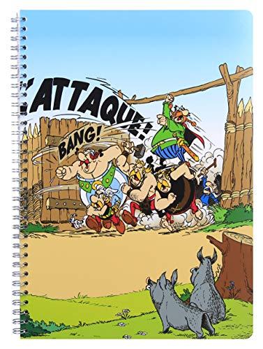 Clairefontaine 812916C Astérix Les Gauois - Cuaderno de espiral (100 páginas, 21 x 29,7 cm, 90 g, líneas con margen, cubierta de cartulina visual aleatoria