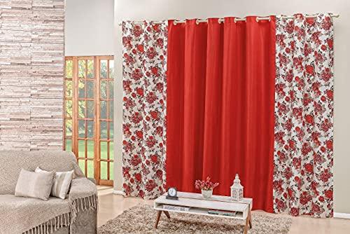 Cortina Floratta 2,00m x 1,70m Floral Estampada Para Sala Ou Quarto Vermelho