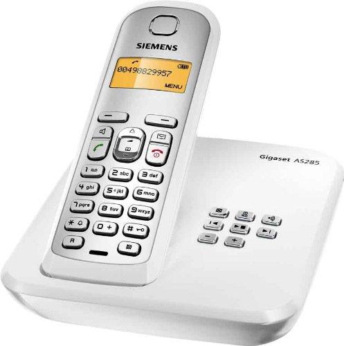 Siemens Gigaset AS285 DECT Schnurlostelefon mit Anrufbeantworter, beleuchtetes Display und Tastatur, weiß/ silber