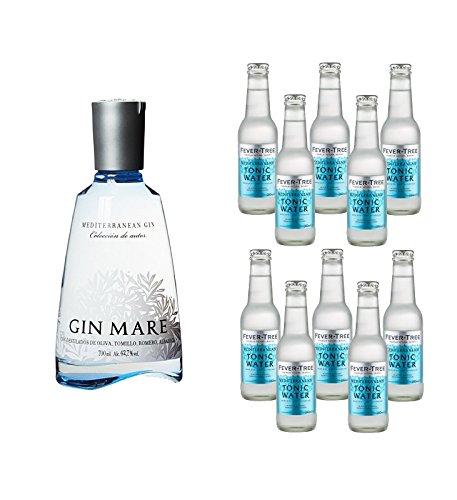 Gin Mare (1 x 0.7 l) mit Fever Tree Tonic Water Mediterranean (10 x 0.2 l)