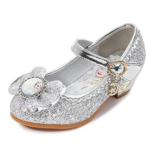 Eleasica Zapatos de tacn bajo para nias pequeas, Zapatillas de Baile Brillantes para Disfraz de Princesa, Calzado con Punta Cerrada, Adorno Lazo y Retrato de Princesa Elsa, Gran Regalo Infantil
