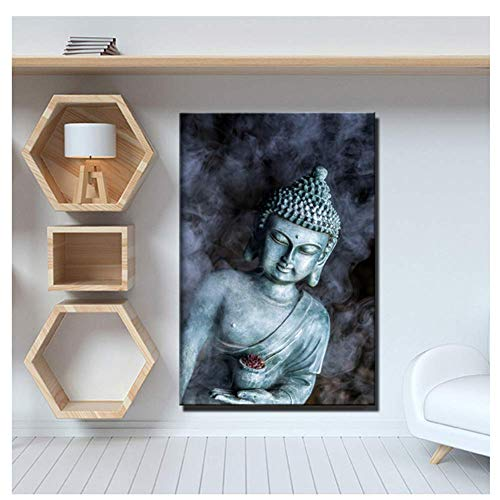 KONGQTE Smoke Vape Buddha Statue Buddhism Canvas Paintings Religious Buddha Wall Posters for Living Room Wall Decor-24X32Inchx1 No Frame