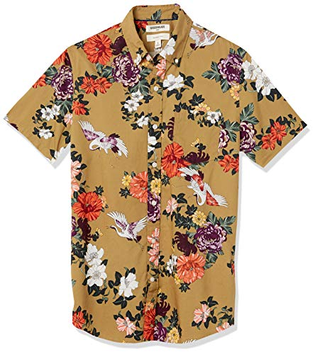 Goodthreads Slim-Fit Short-Sleeve Printed Poplin Shirt Button-Down-Shirts, Floral Stork, Large
