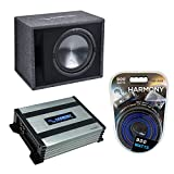Harmony Audio HA-RS12 Car Stereo Rhythm Loaded 12' Vented 600W Sub Box Bundle with HA-A400.1 Amplifier & Amp Kit