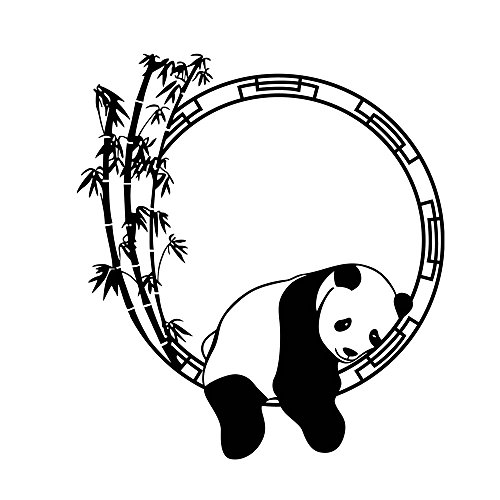 Winhappyhome Sleeping Panda Bamboo Stickers Muraux pour Chambre à Coucher Salon Coffee Shop Decalques Amovibles
