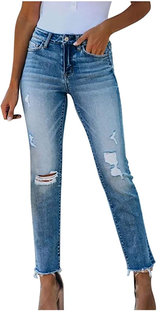 Women's Denim Pants Fashion Casual Button Pocket Ripped Hole Stretchy Comfy High Waist Skinny Slim Jeans
