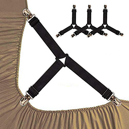 Buy Bargain SAYGOGO Bed Sheet Holder Straps Stable Triangle Sheet Clips with Adjustable Nylon Rope f...