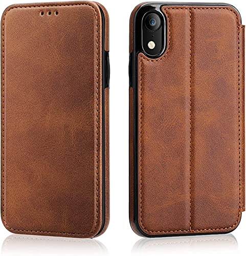 Concha Protectora De Flip De iPhone XR con Paquete De Cartas De Cartera, Soporte De Cinturón Cerrado Magnético De Cuero Cuero 6.1 Pulgadas - Marrón, Brown