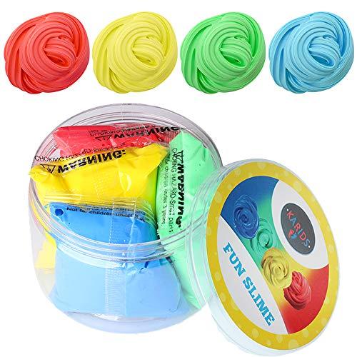 Flauschiger Schleim in 4 Farben - lustige, farbenfrohe und interaktives Stressabbau-Spielzeug für Kinder und Erwachsene - weich, Nicht klebrig und dehnbar | Blau, Grün, Gelb, Rot
