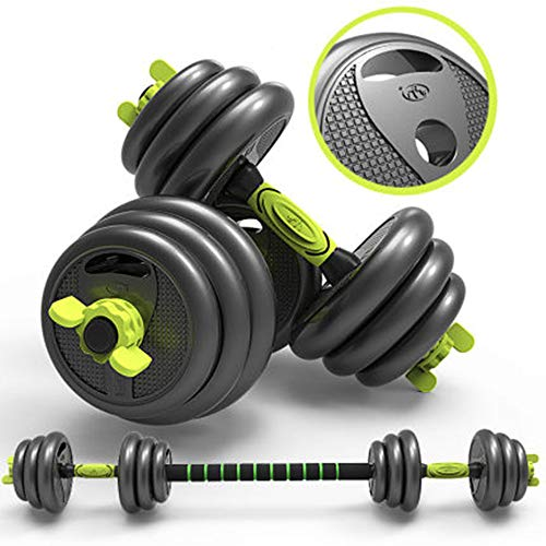LKAN Adjustable Fitness Dumbbells Weights Set, Free Dumbbells with Connecting Rod Used As Barbell for Work Out Home Gym Training Exercise, Suitable for Men and Women 2Pair (22lbs)