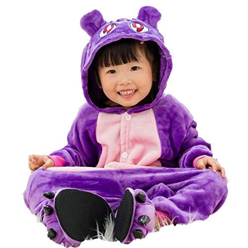 NYKK Disfraces para niños Traje de Halloween de los niños Unisex púrpura del Gato Pijamas, niños otoño Franela con Capucha Romper Pijamas de Animales para niños (Color : Without Shoes, Size : 55.1)