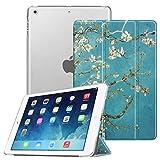 FINTIE Funda para iPad Air (2013)/iPad Air 2 (2014) - Trasera Transparente Mate Carcasa Ligera con Función de Soporte y Auto-Reposo/Activación, Flores