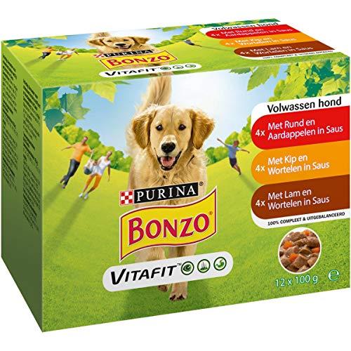 Bonzo Adult Maaltijdzakjes Hondennatvoeding met Rund en Aardappelen, Kip en Wortelen, en Lam en Wortelen in Saus  12 x 100g - Doos van 4 (48 portiezakjes; 4,8kg)