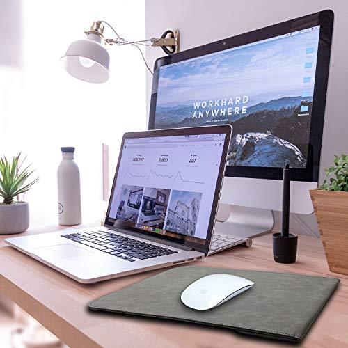 TECOOL 15 Zoll Laptop Hülle Tasche mit Zubehörtasche, Wasserdicht Faux Leder Schutzhülle für 2012-2018 MacBook pro 15 A1990/ A1707/ A1398,MacBook Pro 16 A2141, Dell XPS 15, 15