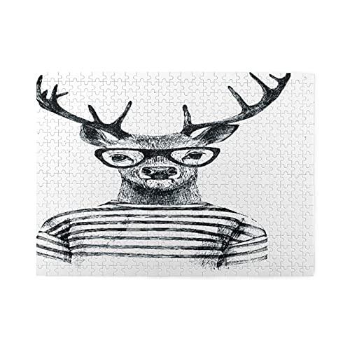 Rompecabezas de 500 piezas,ciervos disfrazados a mano en estilo hipster,ilustraciones de juegos de rompecabezas familiares grandes para adultos y adolescentes