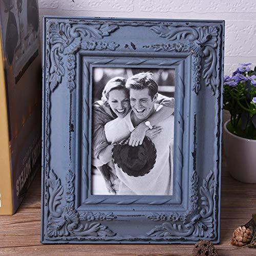 chenyu Cadre photo vintage shabby chic à monter sur pied Décoration d'intérieur Cadre en bois pour photos de mariage Taille standard 4R – 15 x 10 cm (Bleu)
